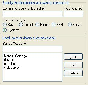 PuTTYcyg Cygterm radio-button