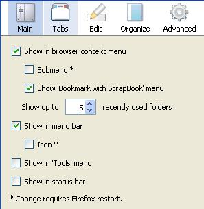 Scrapbook Firefox add-on options