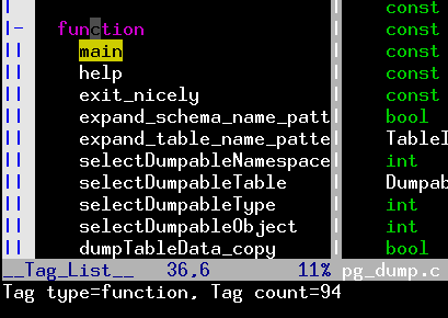 Display Total Number of functions for a source code inside Vim Editor