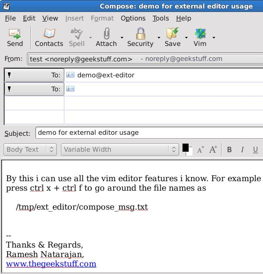 Vim Compose Email in Thunderbird Editor