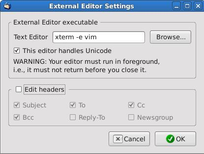 Vim External Editor Settings Window