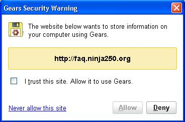 Google Gears Security Warning Message