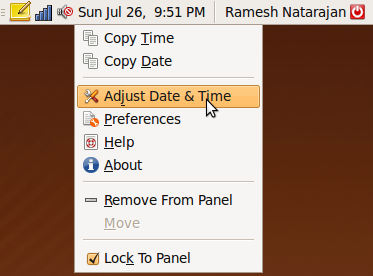"Fig: Ubuntu Launch ""Adjust Date & Time"" Window"