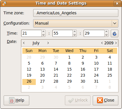 "Fig: Ubuntu ""Time and Date Settings"" Window"