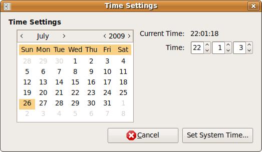 "Fig: Ubuntu ""Time Settings"" Window"