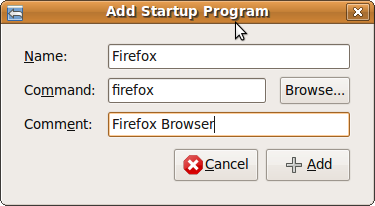 Fig: Ubuntu - Add Startup Program (e.g. Firefox Browser)
