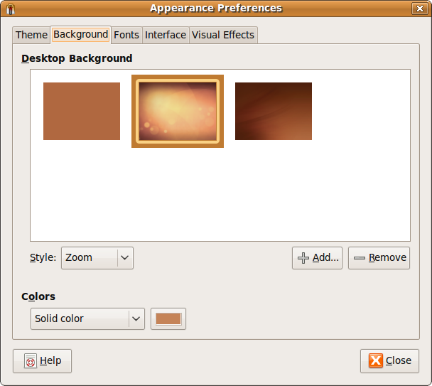 Fig: Select Custom Ubuntu Desktop Background Image