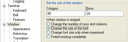 Fig: PuTTY Change the font size automatically