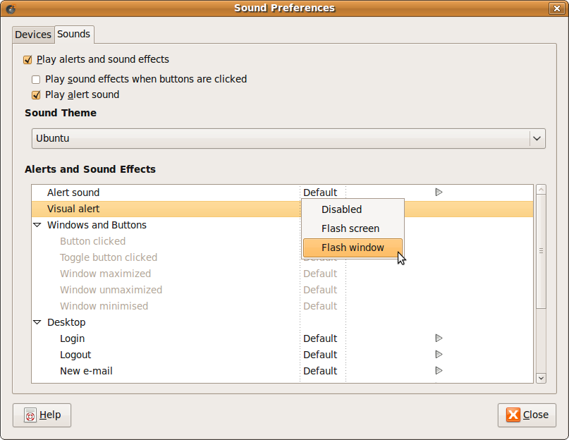 Fig: Sound Alert Preferences in Ubuntu