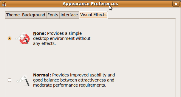 Fig: Ubuntu - Set Appearance Preferences to None