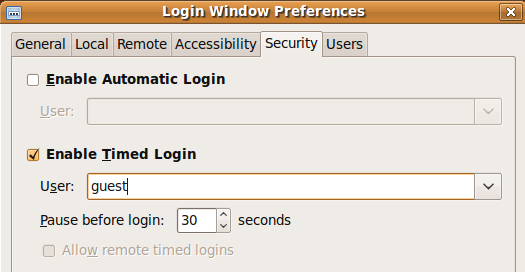 Fig: Ubuntu Timed Login Without Userid and Password