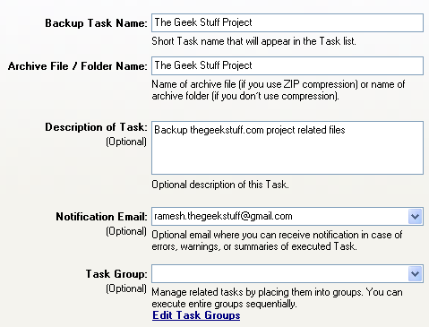 Fig: Windows XP Backup General tab