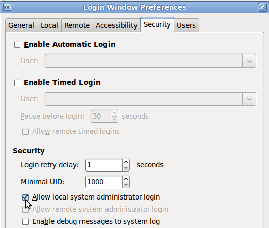 Ubuntu Login Window Preferences - Enable root login