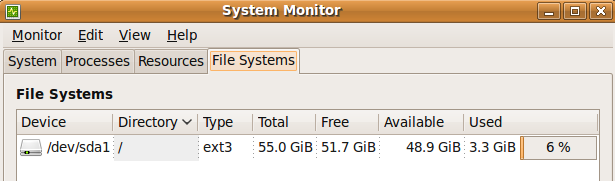 Ubuntu System Monitor Graphical Interface - File Systems Tab