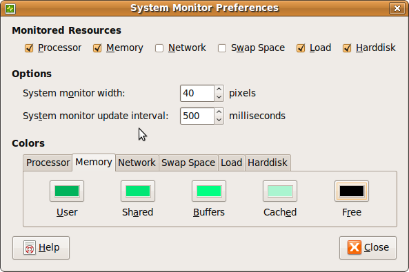 Ubuntu System Monitor Preferences