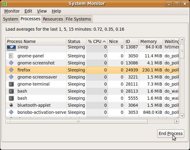 Ubuntu System Monitor UI - Processes Tab