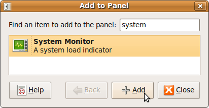 Ubuntu Search System Monitor to Add to Panel