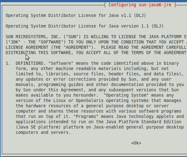 Fig: Sun Java License Terms - Click OK