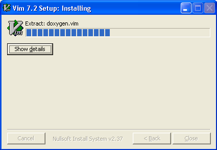 Vi for Windows - Installation complete