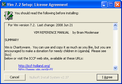 Vim editor for Windows 7 - Accept License Agreement