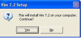 gVim for Windows - Setup Confirmation