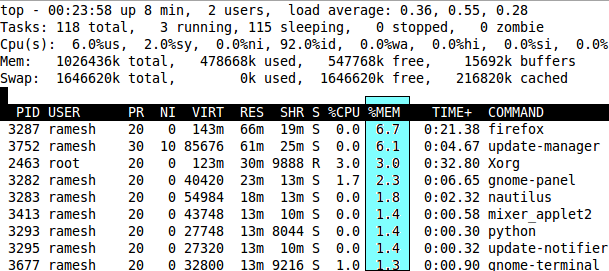 Top Command Sort By Memory Usage