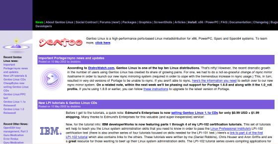 Gentoo 2002 Website