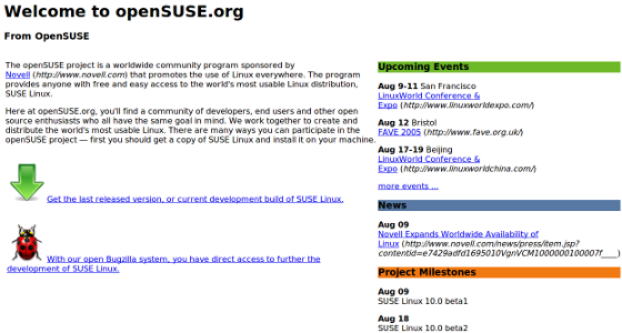 OpenSuse 2005 Website