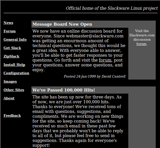 Slackware Website 1999