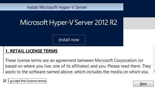 Hyper-V Install Accept License