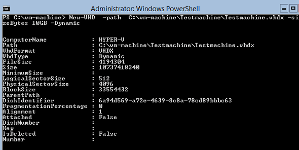 Powershell New-VHD