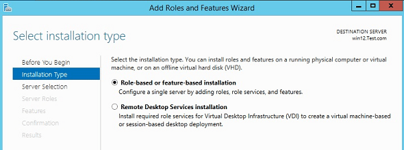 Windows Add Roles Installation Types