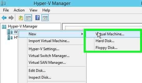 Hyper-V Manager New VM Menu