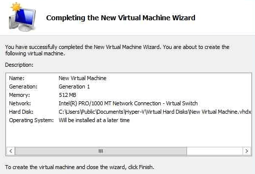 Hyper-V Complete New VM