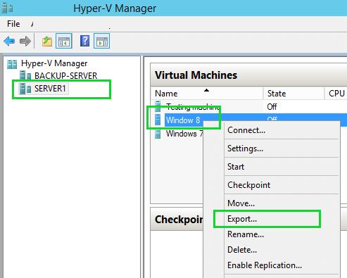 Export Hyper-V VM Menu