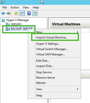 Import Hyper-V VM Menu