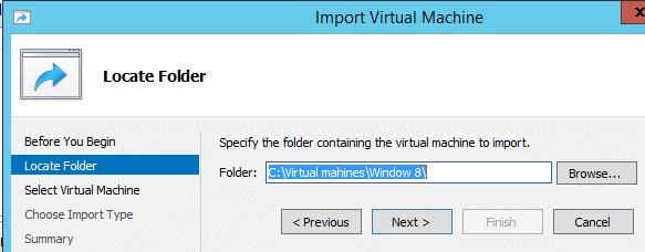 Import Hyper-V VM Locate Folder