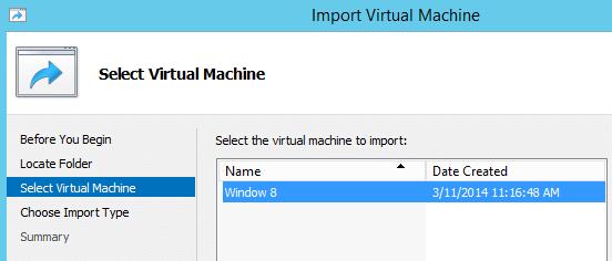 Import Hyper-V VM Select VM