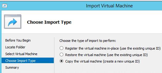 Import Hyper-V VM Import Types