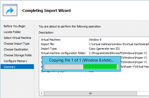 Import Hyper-V VM Summary
