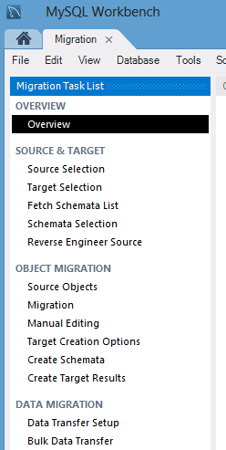 MySQL Workbench Migration Overview