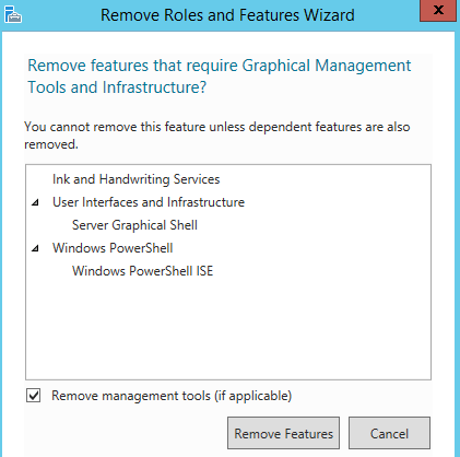 Windows UI Remove Features Confirm