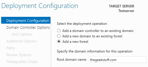 AD Deployment configuration