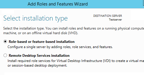 AD Select installation type