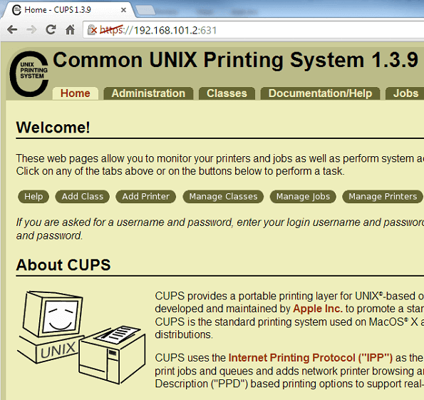 CUPS Admin Home Page