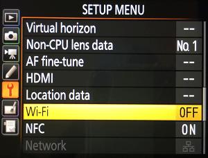 Nikon Setup Menu