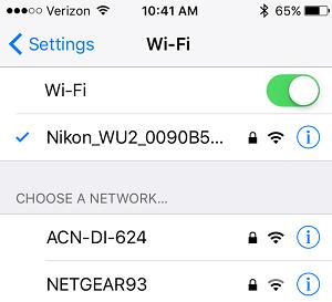 iPhone Connect to Nikon Wi-Fi