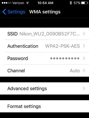 Nikon WMU App Wi-Fi Security Setting