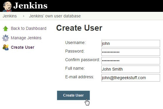 Jenkins Create User