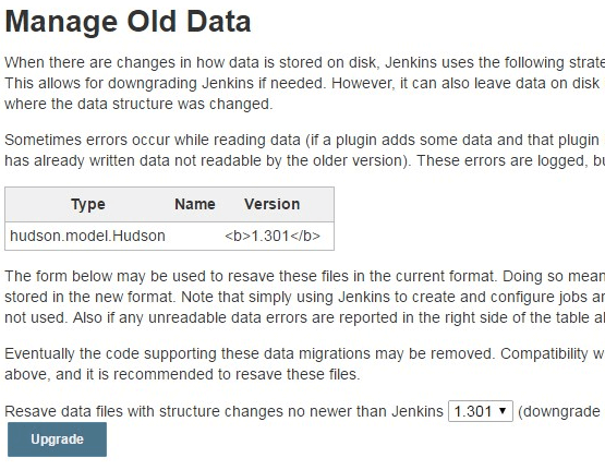 Jenkins Old Data Upgrade